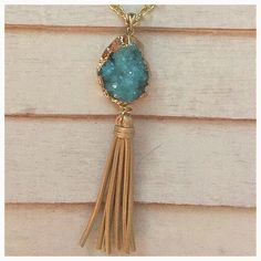 NEW LONG GOLD & SKY BLUE DRUZY TASSEL NECKLACE NEW HANDCRAFTED LONG GOLD & SKY BLUE DRUZY NECKLACE WITH GOLD LEATHER TASSEL Adorned by Amie Jewelry Necklaces