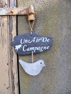 """décoration de jardin suspension ardoise """"un air campagne"""" : Accessoires de maison par troglodyte-mignon"""