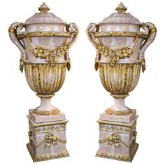 Pair of 19th Century Monumental Majolica Lidded Urns | From a unique collection of antique and modern urns at http://www.1stdibs.com/furniture/building-garden/urns/