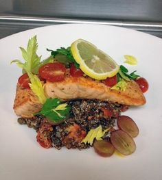 Skuna Bay Salmon with Organic Red Quinoa Grape and Tomato Salad  pinery country club #Parker #CO
