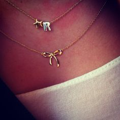 Bow necklace by Heart to Get classic collection and Heart for initials by Heart to Get #jewelry #fashion #loveit