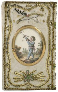 La Galerie Lyrique des Spectacles [pour 1809] (back cover) | France; Paris | 1808-1809 | silk, gold thread, sequins | National Library of the Netherlands | Source #: 345 G 3