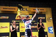 Stage 5 winner Andre Greipel (Lotto Belisol) on the podium in Saint-Quentin. Broadway Shows, Saints, Basketball Court, Stage, Sport, Deporte, Sports