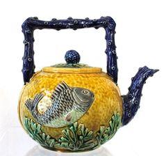 English Majolica Fish Tea Kettle. Majolica International Society image from the Karmason Library Master File:
