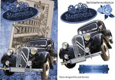 Vintage black car with steampunk and rose on Craftsuprint - Add To Basket!
