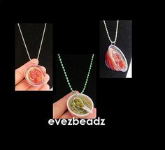 "Spaghetti and Meatballs or Green Peas Fun Foods Necklace  You will receive (1) necklace per listing.  The Spaghetti and Meatballs comes on a silver bead ball chain necklace that measures 20"" long.  Th"