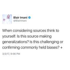 "16 Likes, 1 Comments - Blair Imani (@blairimani) on Instagram: ""#TwitterThread on allyship and considering sources when learning about cultures and ideologies."""