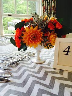 Wedding centerpiece  Orange dahlias