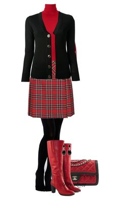 Kilt with Red and Black by ravenlancaster on Polyvore featuring polyvore, fashion, style, Tory Burch, Uniqlo, Topshop, Gipsy, Jilsen Quality Boots, Chanel, Forever New, clothing, ToryBurch, redandblack and contestentry