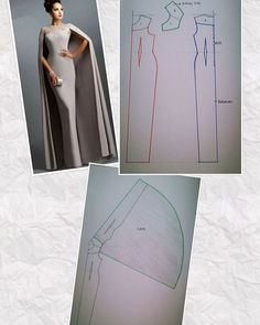 Cape Dress Dress Codes Dress Patterns Duster Coat Fashion Show Gowns Sewing Chic Model Techniques Couture, Sewing Techniques, Pattern Cutting, Pattern Making, Diy Clothing, Sewing Clothes, Dress Sewing Patterns, Clothing Patterns, Fashion Sewing