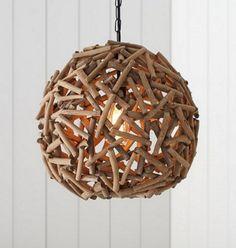 Driftwood Globe Hanging Lamp Pendant: http://www.completely-coastal.com/2014/08/shop-driftwood-lamps.html