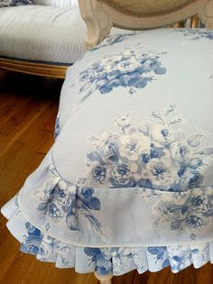 "A detail of the custom made dining chair slipcover in ""Jane's Rose Bouquet"" in blueberry blue;  new fabric by LilyOake, available on Spoonflower."