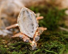 Herkimer Diamond Engagement Ring Set, Ethical Raw Diamond Ring, Uncut Diamond Wedding Band, Herkimer Ring Wedding Set - Herkimer Diamond Ring Alternative Engagement Ring Crystal Best Picture For wedding gown For Your - Bohemian Wedding Rings, Wedding Ring Sets Unique, Wedding Rings Simple, Wedding Rings Vintage, Unique Rings, Trendy Wedding, Gold Wedding, Wedding Set, Simple Rings