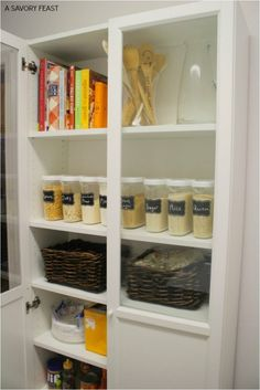 IKEA clear food storage containers and baskets for the pantry. & IKEA Pantry Hack - Kitchen Pantry using Ikea Billy bookcase! | home ...