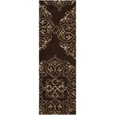 $253@Overstock - Hand-tufted in New Zealand wool, this rug features colors of burnt umber, dark khaki. This rug is the perfect addition to any home.http://www.overstock.com/Home-Garden/Bob-Mackie-Hand-tufted-Brown-Glosso-New-Zealand-Wool-Rug-26-x-8/6576131/product.html?CID=214117 Add to cart to see special price