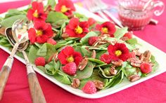 Salad with Raspberries, Pecans, and Nasturtiums. (Nasturtia?) I'm sick of raspberry vinaigrette in every restaurant's signature salad, but this salad is so pretty! I would used mixed greens instead, and maybe add a little of the suggested red onion variation.