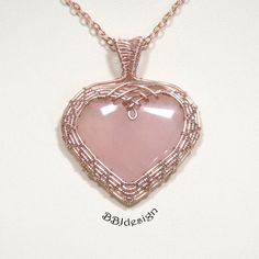 Rose Quartz Heart Gemstone Cabochon Pendant Necklace Rose Gold Wire Wrapped Woven Pink