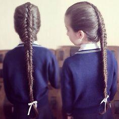 Braids for girls, fish braids, Косы с лентами, прически для девочек, косы в школу