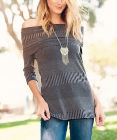 Gray Stripe Fold-Over Off-Shoulder Top #zulily #zulilyfinds