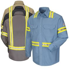 A professional style that can safe your life. Constructed from lightweight, Excel FR Comfortouch fabric that is a blend of flame resistant cotton and nylon for a product that has the soft feel of cotton with the added strength nylon. This shirt was n Uniform Shirts, Work Uniforms, Work Shirts, Can Safe, Orange Vests, Work Jackets, Unisex, Work Wear, Motorcycle Jacket