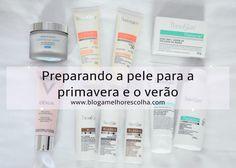 Um guia de produtos de beleza para cuidar da pele com foco em clarear, diminuir a oleosidade, tratar acne, combater o envelhecimento e proteger do sol.