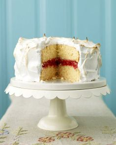 Easter Desserts // Meringue-Frosted Cake with Raspberry Filling Recipe