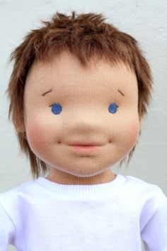 Waldorf sculptural face doll 175 inches boy