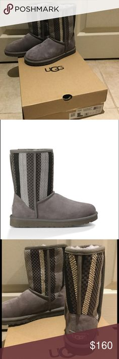 """NIB Classic Short Woven Suede Woven suede with metallic accents jazz up this iconic boot.  Features a plush, breathable wool interior and lightweight outsole.  8"""" shaft height.  Color: Charcoal. UGG Shoes Winter & Rain Boots"""