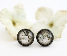 Whole Wide World - Antique World Map From 1823 - Nickel Free Antique Brass Stud Earrings. $16.00