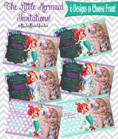 Ariel Invitations The Little Mermaid Birthday Invitations www.BaileyBunchInvites.com