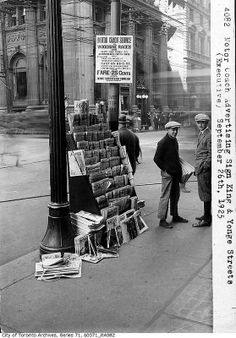 Newspaper stand on the corner of King and Yonge streets in Toronto, Sep. Newspaper Stand, Old Newspaper, Yonge Street, Toronto Ontario Canada, Research Images, San Francisco Chronicle, Political Events, Street Photography, White Photography