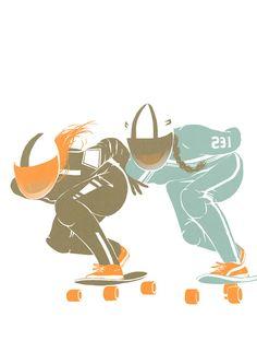 Roller derby series by Saint Kilda in Illustration