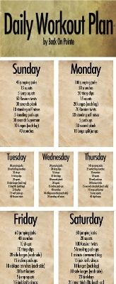 Daily workout plan! on Forever Slender  http://www.forever-slender.com/04/04/fitness-motivation #fitness #motivation #nutrition #diet #juiceplus #fitnessmotivation #workouts