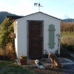 Sadie and Gunther waiting for some customers at our Lavender Cottage. 8x10 Tuff Shed makeover!
