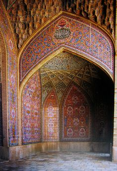 Detail of the iwan of the Nasir al-Molk mosque in Shiraz, Iran