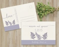Fern wedding save the date postcards designed in the 2016 color of lilac gray. The colors can be changed at no additional cost. Great for rustic weddings, botanical weddings, barn weddings and more. See more here: https://www.etsy.com/listing/254007745/save-the-date-postcard-template-save-the?ref=shop_home_active_1