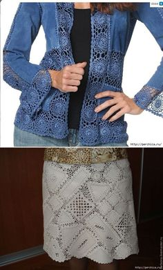 How to combine leather with knitting . It is nice example to evaluate old jeans. Jean will be nice Cardigan with little knitting touch. This Pin was discovered by Dia How one can mix the pores and skin with knitting . Gilet Crochet, Crochet Coat, Crochet Blouse, Crochet Lace, Crochet Skirts, Crochet Clothes, Diy Clothes, Knitting Patterns, Crochet Patterns