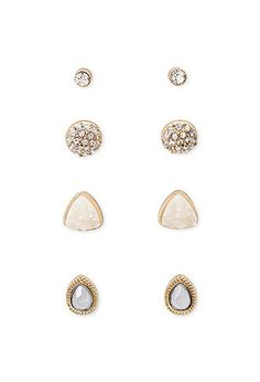 Faux Stone Stud Set | Forever 21 - 1000141839