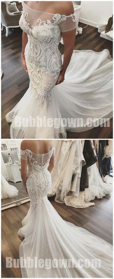 Off the Shoulder Mermaid Elegant Long Bridal Wedding Dresses, BGW005 #wedding #weddingdress #bride #bridedress #bridaldress #laceweddingdress #weddingdresses