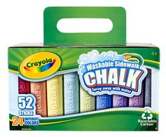 Create BIG outdoor art with Crayola Washable Sidewalk Chalk. Features 52 crayon shaped sidewalk chalk sticks in 24 unique colors.