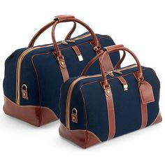 Weekender Travel Bag in Navy Canvas with Smooth Cognac Trim Aspinal Travel Bag Set - Navy Canvas with Smooth Cognac Calf Leather Best Travel Bags, Mens Travel Bag, Travel Bags For Women, Canvas Travel Bag, Weekender, Calf Leather, Brown Leather, Luggage Bags, Nylons