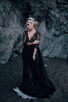 Black lace deep v-neck wedding dress with long sleeve scalloped bodice