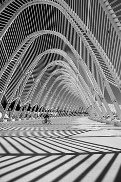 'The cyclist' in OAKA Stadium, Athens, Greece by Spanish architect Santiago Calatrava. photo by Yannis Prappas Beautiful Architecture, Beautiful Buildings, Contemporary Architecture, Architecture Details, Landscape Architecture, Interior Architecture, Interior Design, Pavilion Architecture, Japan Architecture