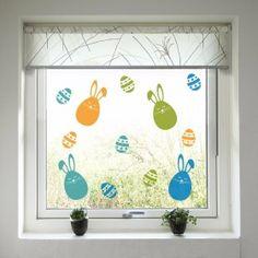 Velikonoční dekorace na okno - Barevní zajíčci a kraslice