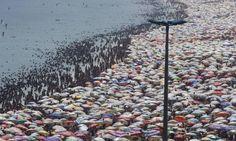 Praia de Ipanema em dia de calor infernal no Rio de Janeiro.