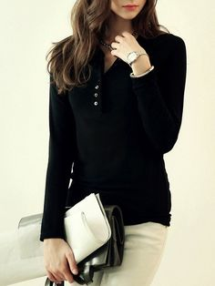 Long Sleeve Buttons Black T-shirt 9.83
