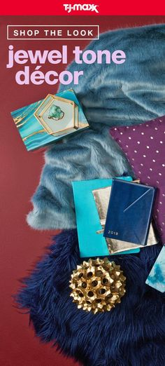 Set tone for an on-trend space with jewel-inspired décor and easy updates in deep blues, purples, and greens. Add in touches of luxe gold, geode details, and mix in cozy materials like faux fur and shag for a rock-star look. Discover the Jewel Tones shop on tjmaxx.com.