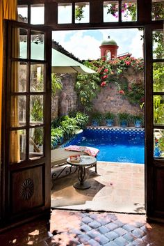 Sun room - casa Schuck.  Love this hot courtyard with plunge pool - what more…