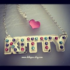 Crystal Letters Name Necklace Custom  Laser cut by didepux on Etsy, €30.00