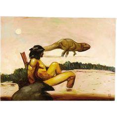 Original Comic Art:Paintings, Jeff Jones - Tarzan Painting Original Art (circa Tarzan, theLord of the Jungle, finds himself in shallow waters, amo. Original Paintings, Original Art, Art Paintings, Tarzan Of The Apes, Jeff Jones, Oil Painting Techniques, Pulp Art, Art Pages, Ink Art